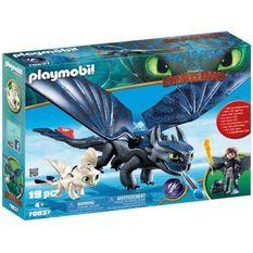 PLAYMOBIL 70037 - Dragons 3 - Krokmou et Harold avec bébé dragon