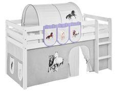 Pochettes beige et parme chevaux Milo pour lit mezzanine enfant