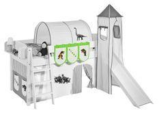 Pochettes beige et vert dinosaures pour lit enfant