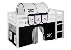 Pochettes blanc et noir Pirate pour lit mezzanine enfant