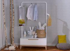 Portant enfant 1 tiroir bois blanc et hêtre clair Evidence