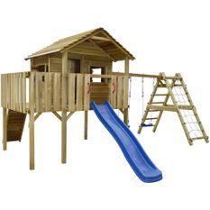 Portique de jeu en bois avec filet d'escalade, toboggan et balançoires