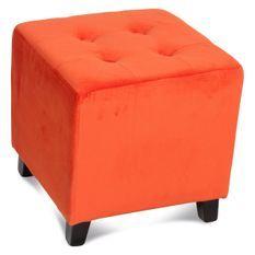 Pouf carré capitonné velours orange Elodie