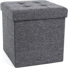 Pouf coffre de rangement pliable tissu en lin gris foncé L 38 x P 38 x H 38 cm