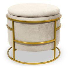 Pouf coffre rond velours beige et métal doré Pissou