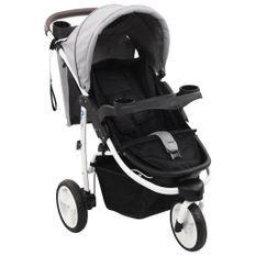 Poussette bébé à 3 roues Gris et noir