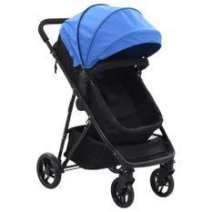 Poussette/Landau bébé 2-en-1 Bleu et noir Acier