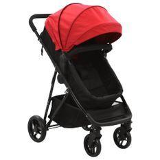 Poussette/Landau bébé 2-en-1 Rouge et noir Acier