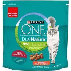 PURINA ONE Croquettes au boeuf avec de la Spiruline DualNature - Pour chat adulte stérilisé - 1,4 kg