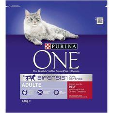PURINA ONE Croquettes au boeuf et aux céréales completes - Pour chat adulte - 1,5 kg