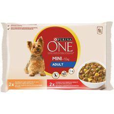 PURINA ONE Pâtée au boeuf et au poulet Mini - Pour chien adulte de petite taille - 4 x 100 g