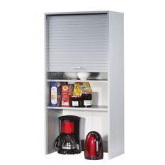 Armoire de cuisine large à rideau gris Couna L 60 x H 124 cm