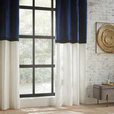 Rideau Bicolore Hôtel Polyester, coton et viscose - 140x260 cm - Bleu