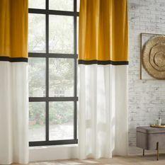Rideau Bicolore Hôtel Polyester, coton et viscose - 140x260 cm - Jaune ocre