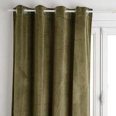 Rideau occultant velours - 140 x 260 cm - Vert kaki