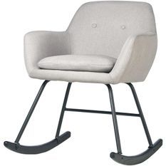 Rocking chair tissu gris clair et pieds métal noir Ohny