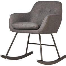 Rocking chair tissu gris foncé et pieds métal noir Ohny