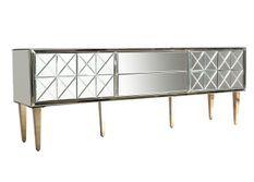Meuble TV 2 portes 2 tiroirs miroir et pieds acier doré Barnes 200 cm