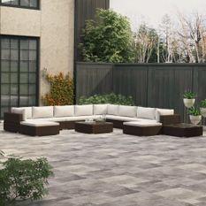 Salon de jardin 12 pcs avec coussins Résine tressée Marron