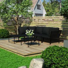 Salon de jardin 6 pcs avec coussins Noir PVC