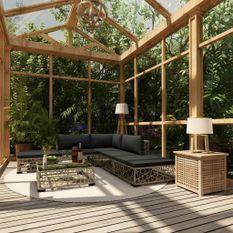 Salon de jardin 6 pcs avec coussins Résine tressée Gris