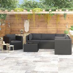 Salon de jardin 7 pcs avec coussins Résine tressée Noir