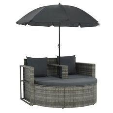 Salon de jardin avec parasol résine tressée et tissu gris Uvo