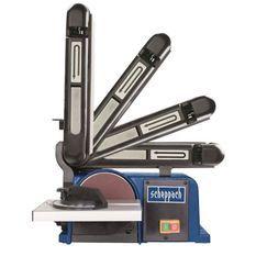 SCHEPPACH - Ponceuse a bande et a disque 370W moteur a induction avec table de ponçage inclinable 0° a 45° et bande ponçage relevabl