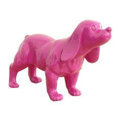 Sculpture chien cocker polyrésine rose Animay 37 cm