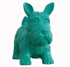 Sculpture chien schnauzer polyrésine vert Animay 38 cm