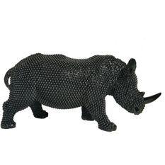 Sculpture rhinocéros polyrésine noire Zoorin