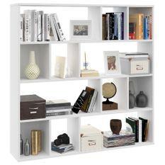 Séparateur de pièce/Bibliothèque Blanc 110x24x110 cm Aggloméré