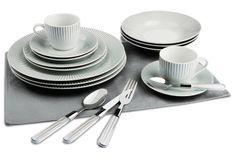 Service de table 80 pièces motif rayures grises Ralis