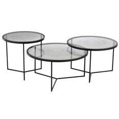 Set de 3 tables gigognes verre et métal noir Verde