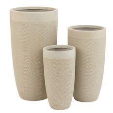 Set de 3 vases argile beige Liray