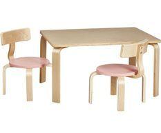 Set table et 2 chaises enfant bois naturel et rose pastel Saly