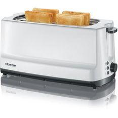 SEVERIN AT2234 Grille-pain, 2 fentes longues pour 4 tranches : griller, dégeler et réchauffer, support viennoiseries, centrage auto