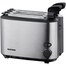 SEVERIN AT2516 Grille-pain avec pinces, 2 fentes, degré de dorage réglable, touche d'éjection, range câble, 540 W, Inox / Noir