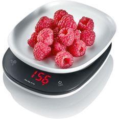 SEVERIN KW3670 Balance de cuisine compacte, largeur 14 cm, 3 unités de pesée, précision en pas de 1g jusqu'a 3kg, affichage LED