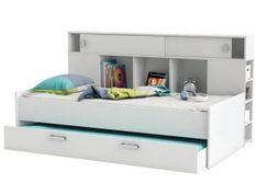 Lit gigogne enfant contemporain blanc perle + tete de lit étageres intégrées - l 90 x L 200 cm