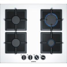 SIEMENS EP6A2PB20 - Table de cuisson gaz - 4 foyers - 7500 W - L 59 x P 52 cm - Revetement verre - Blanc