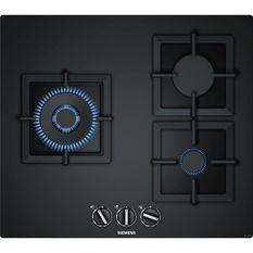 SIEMENS EP6A6CB20 Table de cuisson gaz - 3 foyers - 8000W max - L59 x P52cm - Revetement verre - Coloris noir