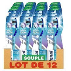 SIGNAL Lot de 12 Brosses a dents White Now Manuelle Souple Poils