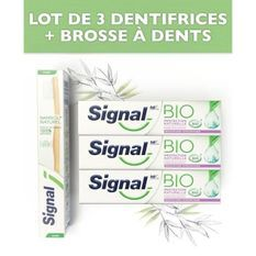 SIGNAL Pack 1 Brosse a dents + 3 dentifrices Bio Protection naturels