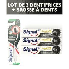 SIGNAL Pack 1 Brosse a dents + 3 dentifrices Intégral 8 charbon blancheur detox