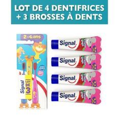 SIGNAL Pack 3 Brosses a dents enfants + 4 dentifrices Fraise gaga