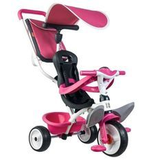 SMOBY Tricycle Baby Balade Roues Silencieuses Rose