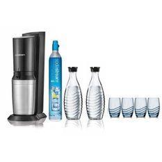 SODASTREAM Pack Machine a gazéifier Crystal Blanche + 2 Carafes en verre + 4 verres sérigraphiés