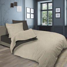 SOLEIL d'OCRE Parure de lit bicolore - Coton lavé - 240 x 290 cm - Lin et taupe