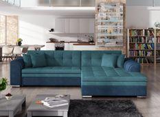 Canapé d'angle droit convertible 4 places tissu bleu foncé et bleu turquoise Looka 295 cm